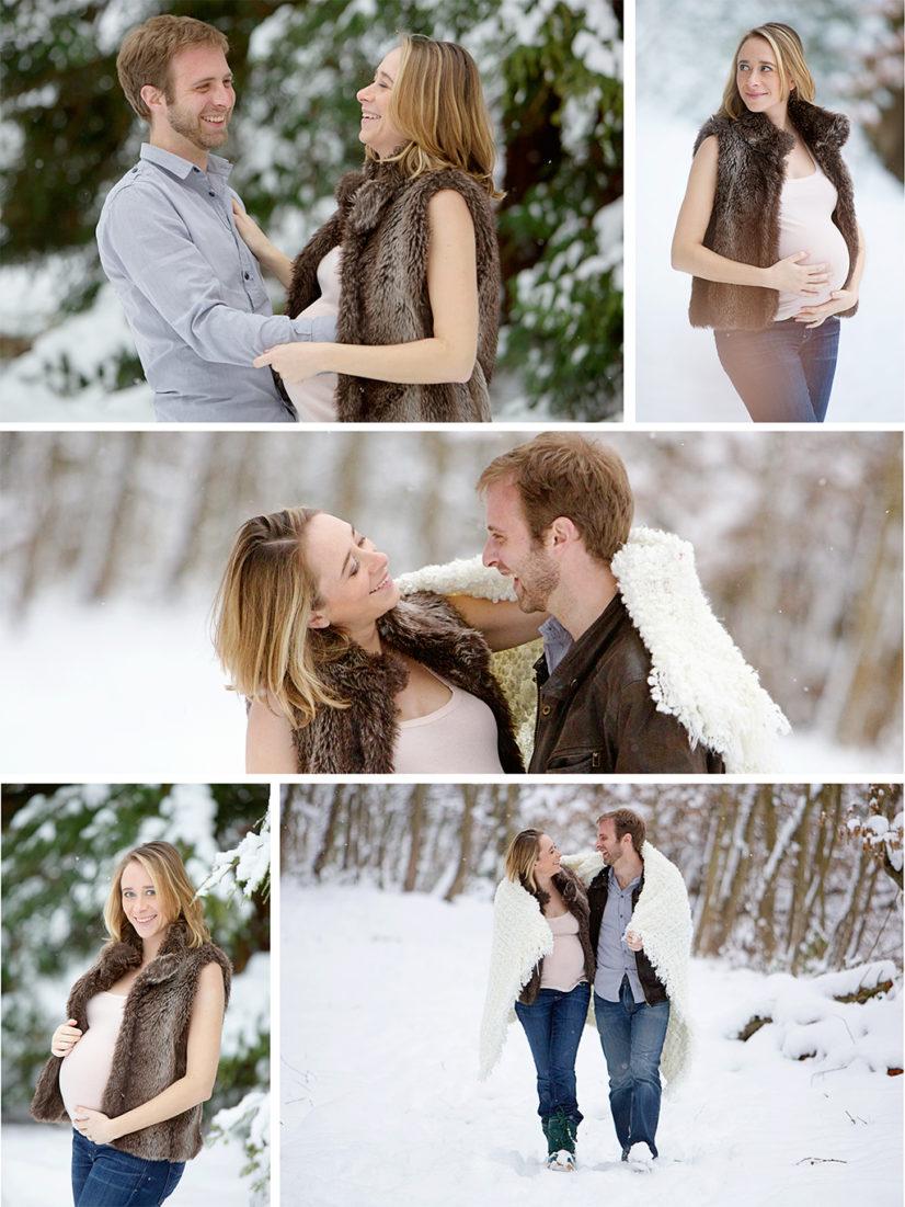S ance photo grossesse sous la neige et en studio for Photo grossesse exterieur hiver