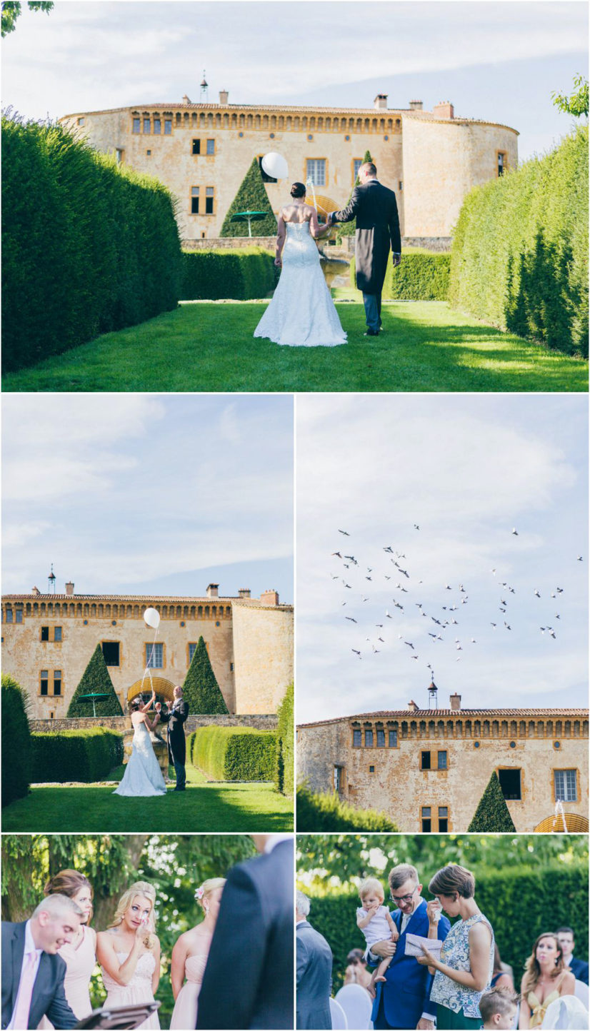 luxury wedding photographer ceremony chateau Bagnols Burgundy France