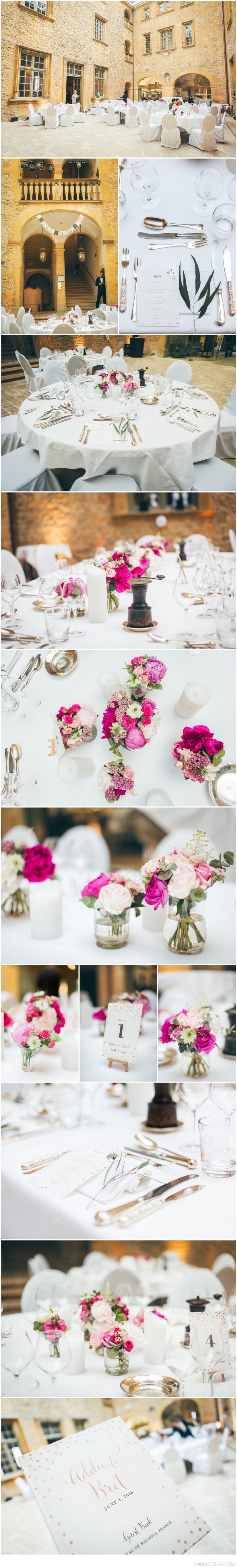 décoration et fleurs mariage Chateau Bagnols ©lasdecoeur