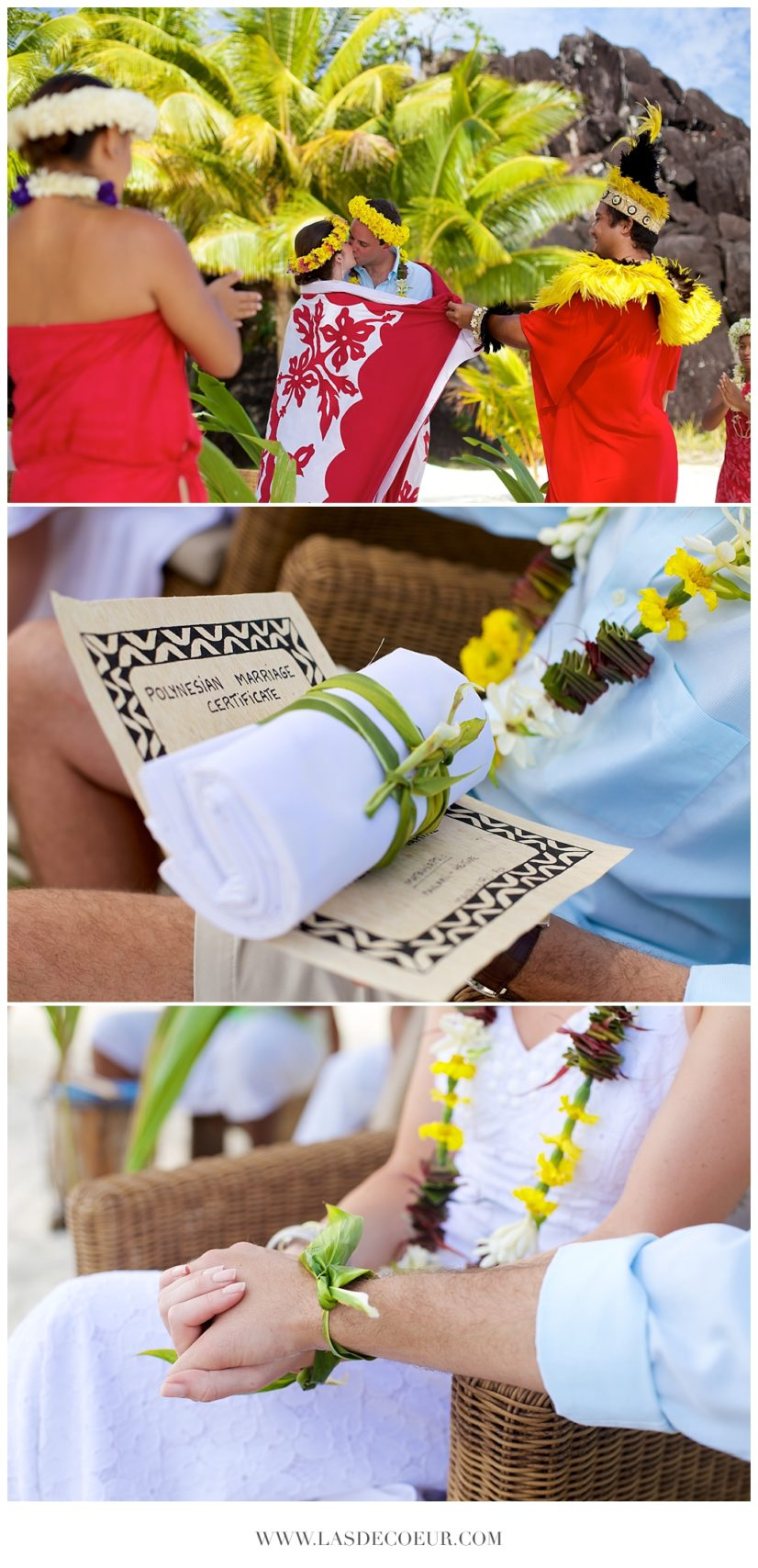 Mariage dans les iles Bora Bora Tahiti cérémonie polynesienne ©lasdecoeur