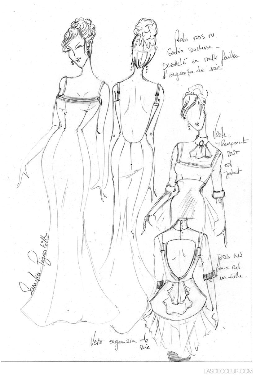 croquis robe de mariage sur mesure Lyon