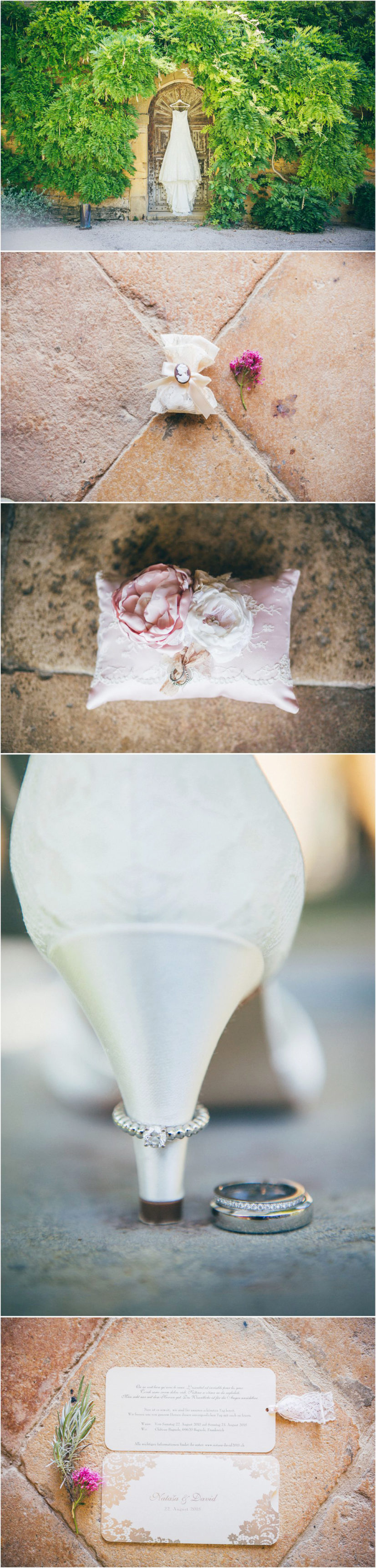 French wedding photographer bride's preparations chateau Bagnols France