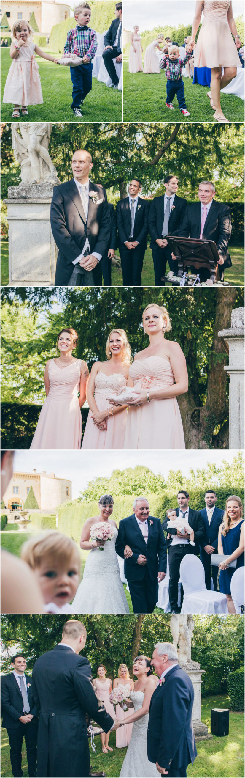 French wedding photographer ceremony chateau Bagnols France