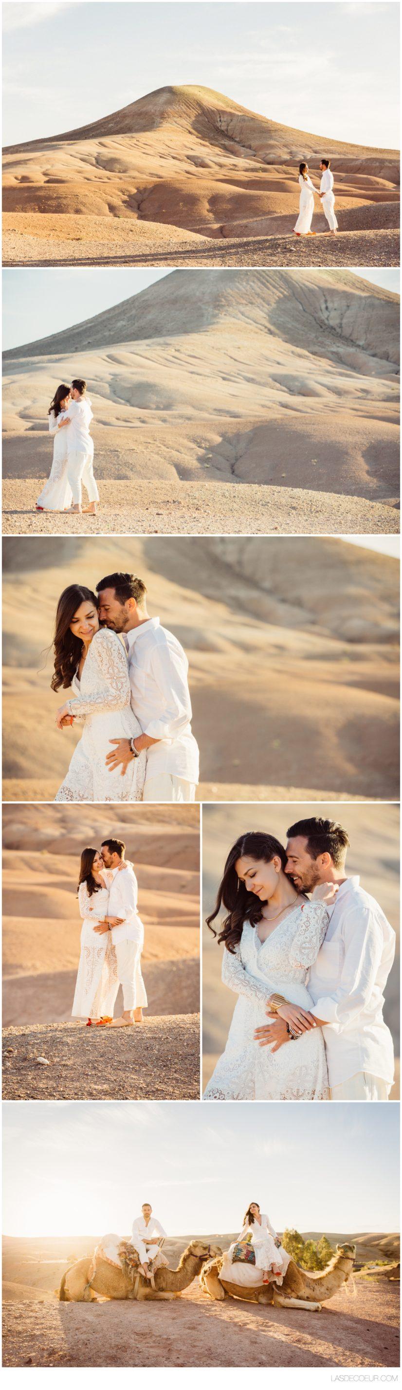 Photo de couple Mariage Marrakech désert d'Agafay