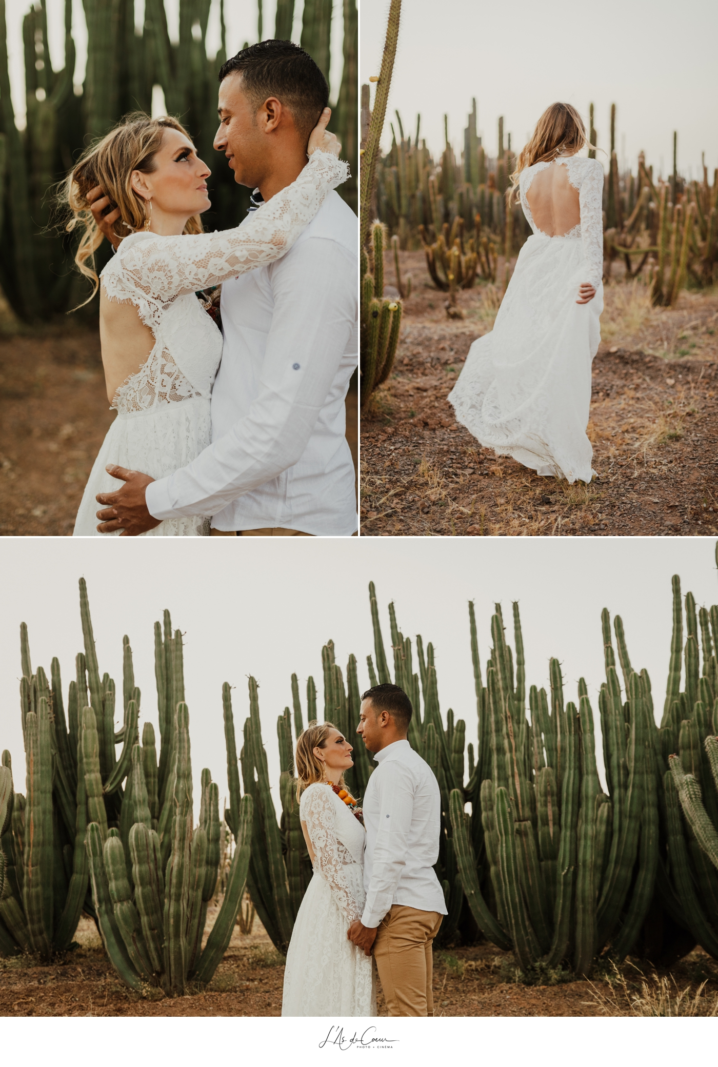 Couple shooting Marrakesh cactus garden