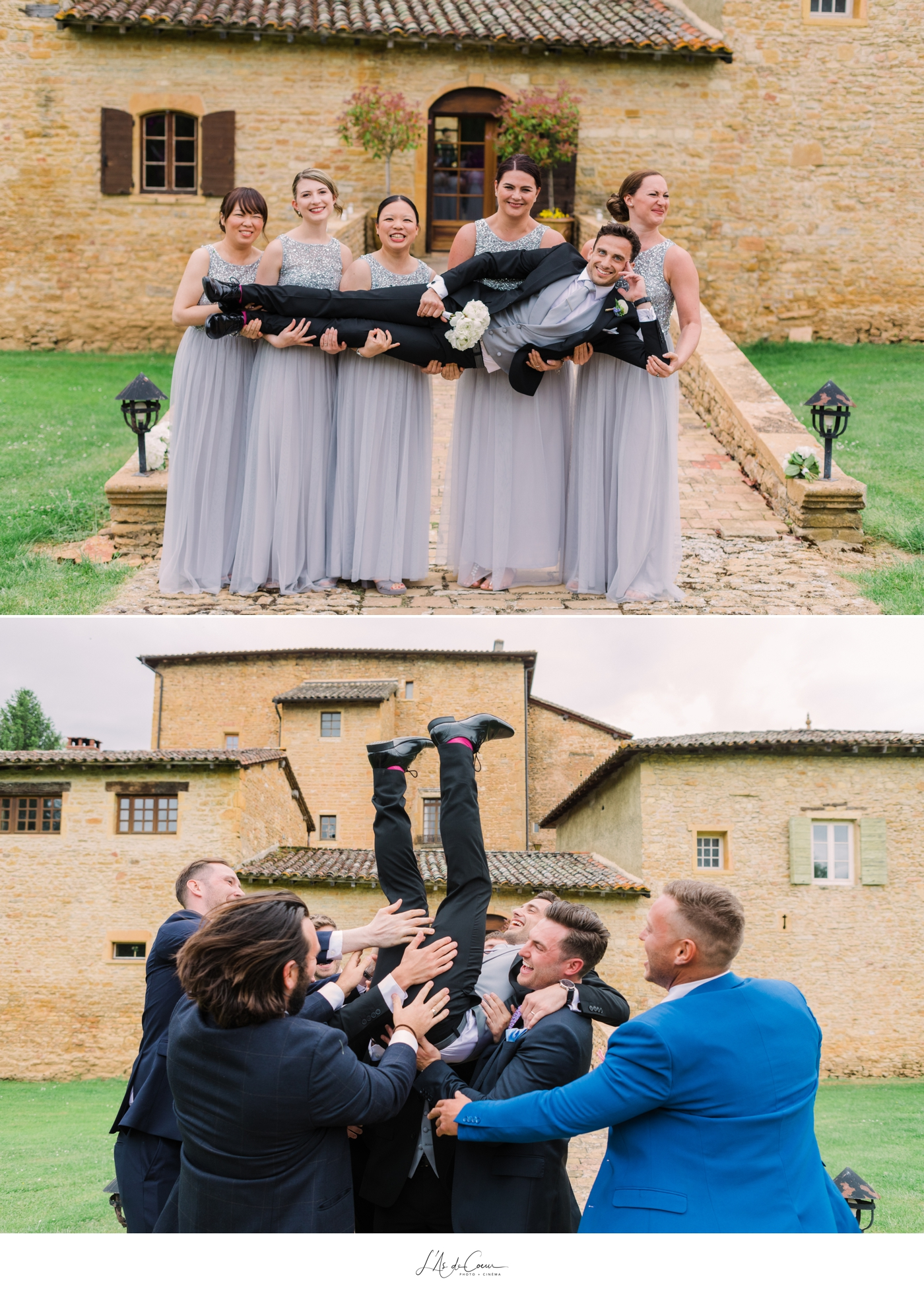 Jumping groom wedding Beaujolais