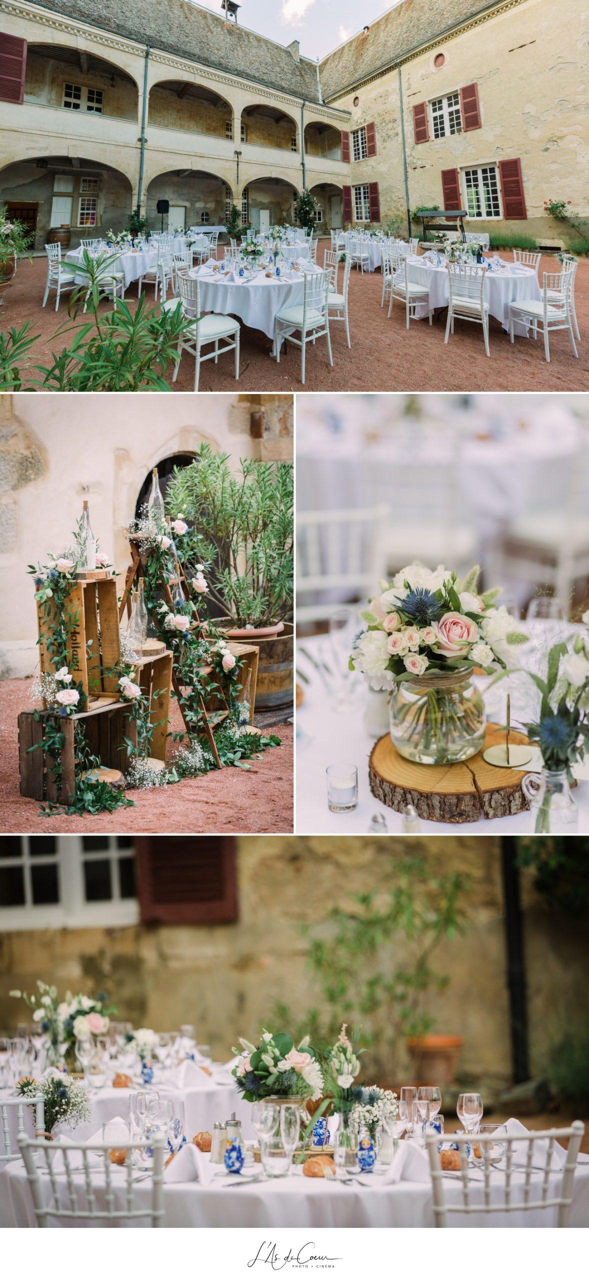 deco table fleurs boheme Chateau de Varennes