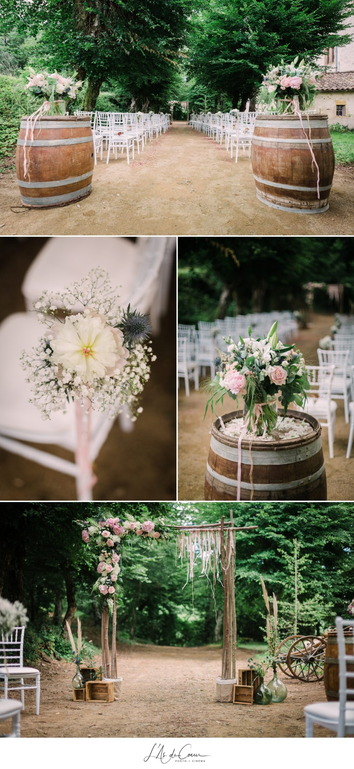 decoration bohème arche fleurs cérémonie
