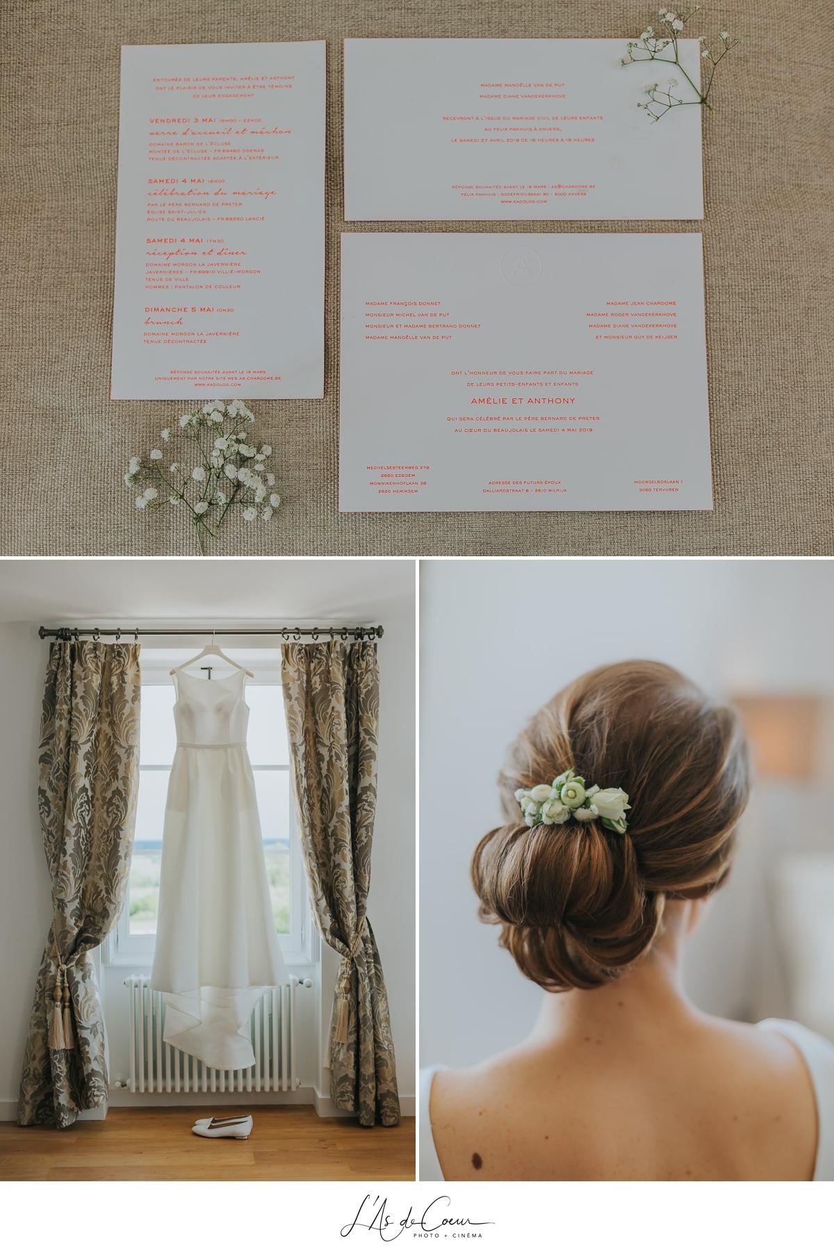 préparatifs mariée robe coiffure papeterie Domaine de Morgon la javenrière photographe mariage lyon Beaujolais L'As de Coeur