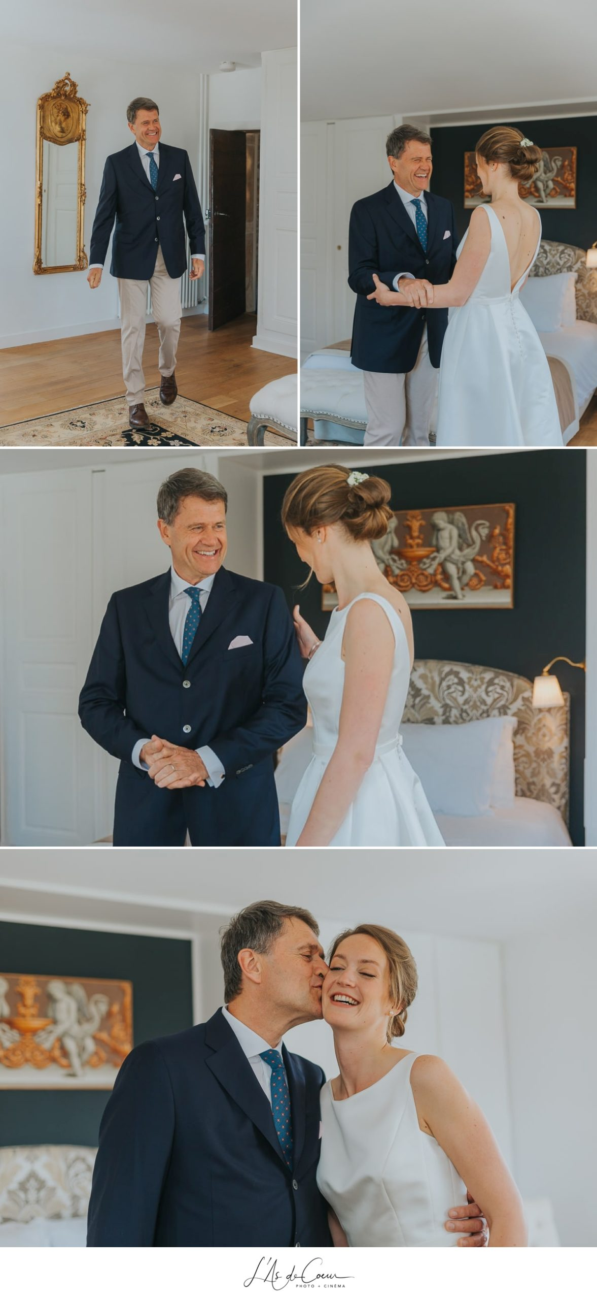 découverte mariée père Domaine de Morgon la javenrière photographe mariage lyon Beaujolais L'As de Coeur