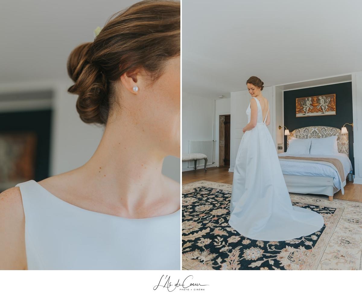 détail robe mariée Domaine de Morgon la javenrière photographe mariage lyon Beaujolais L'As de Coeur