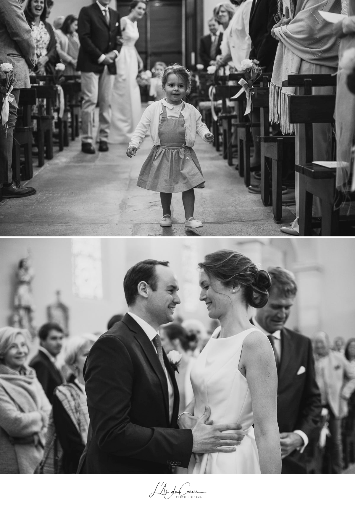 entrée mariés église noir et blanc Domaine de Morgon la javernière photographe mariage lyon Beaujolais L'As de Coeur