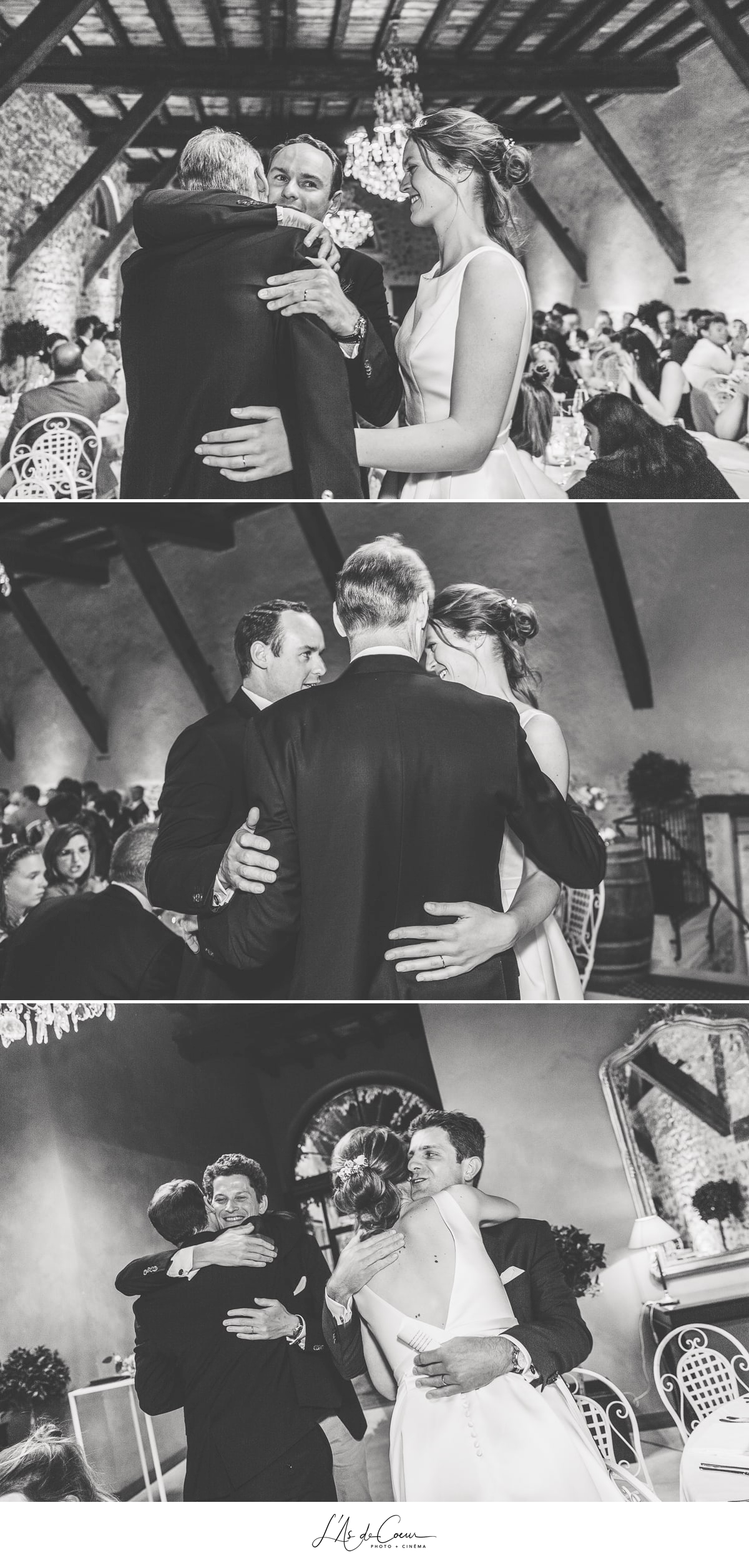 témoignages émotion câlins noir et blanc soirée mariage Domaine de Morgon la javernière photographe mariage lyon Beaujolais L'As de Coeur