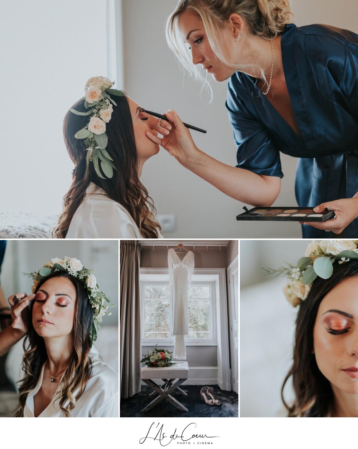 détails make up mariage robe Olympe chaussure mariée Jimmy Choo photographe mariage Lyon ©lasdecoeur