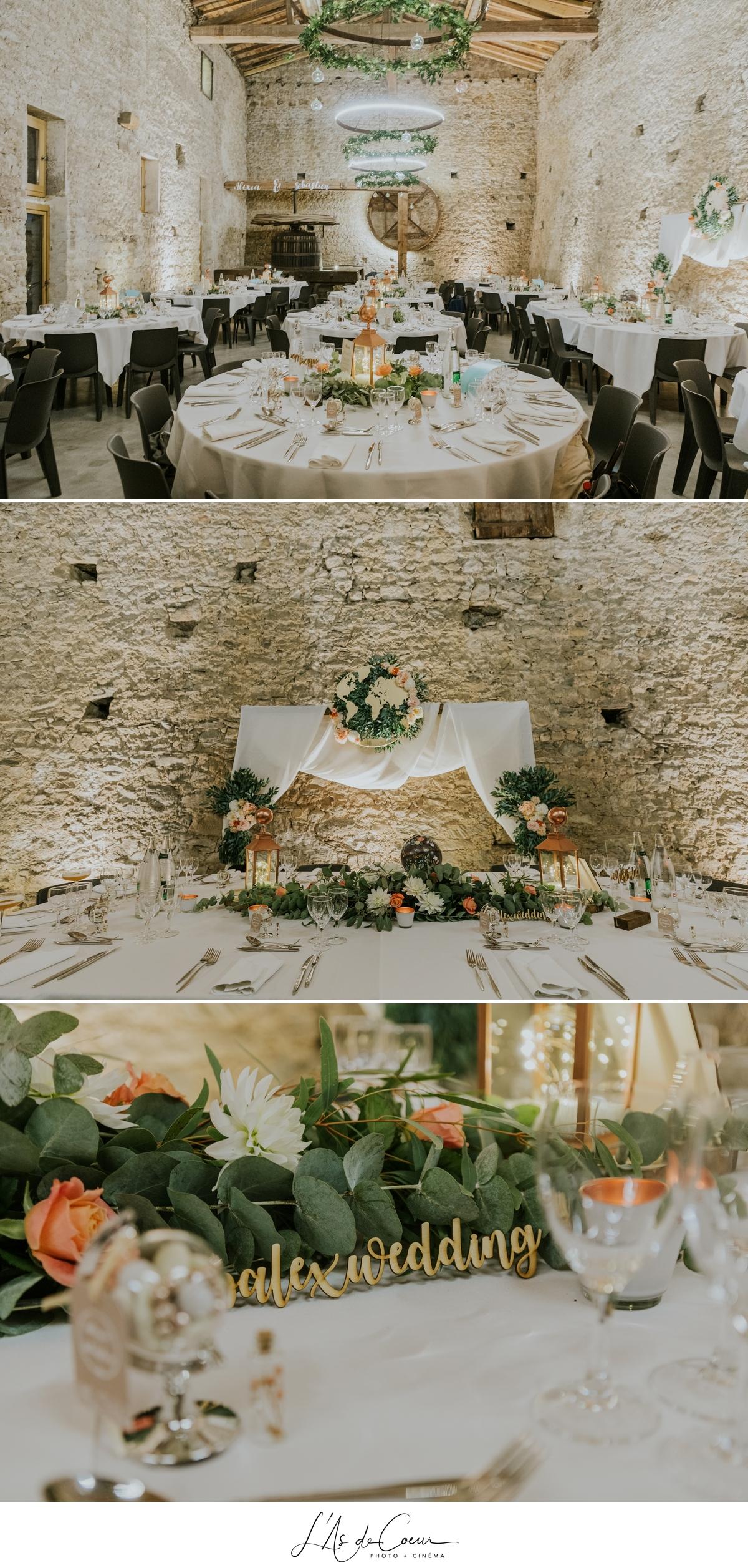 Déco salle Mariage bohème château de la Gallée photographe Mariage Lyon ©lasdecoeur