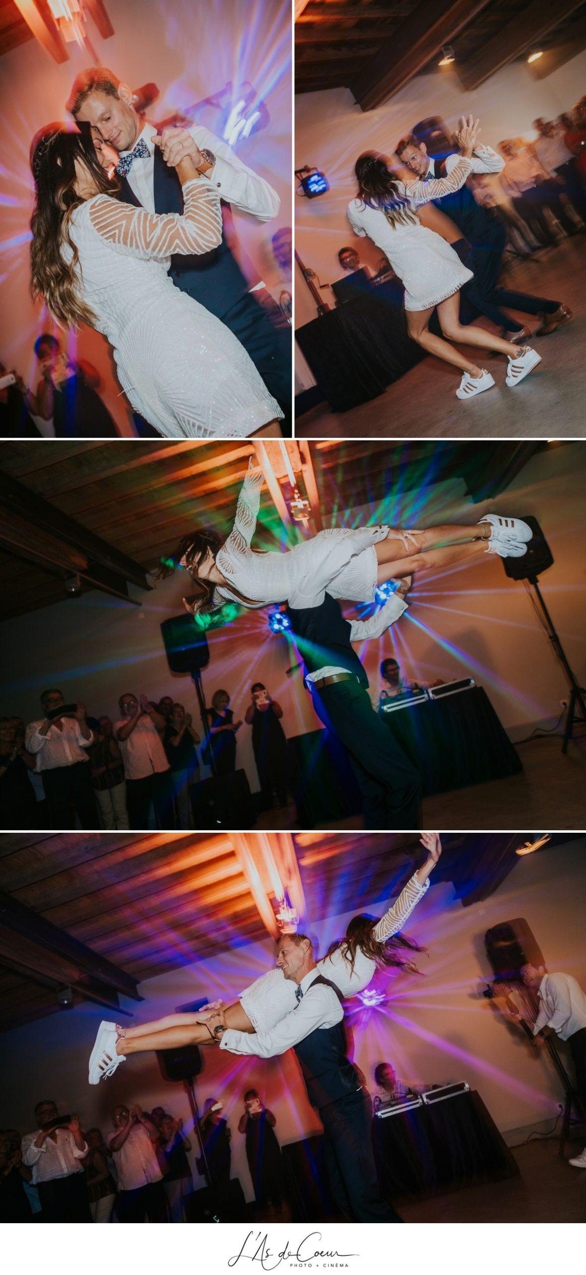 Ouverture de bal première danse porté Mariage bohème château de la Gallée photographe Mariage Lyon ©lasdecoeur
