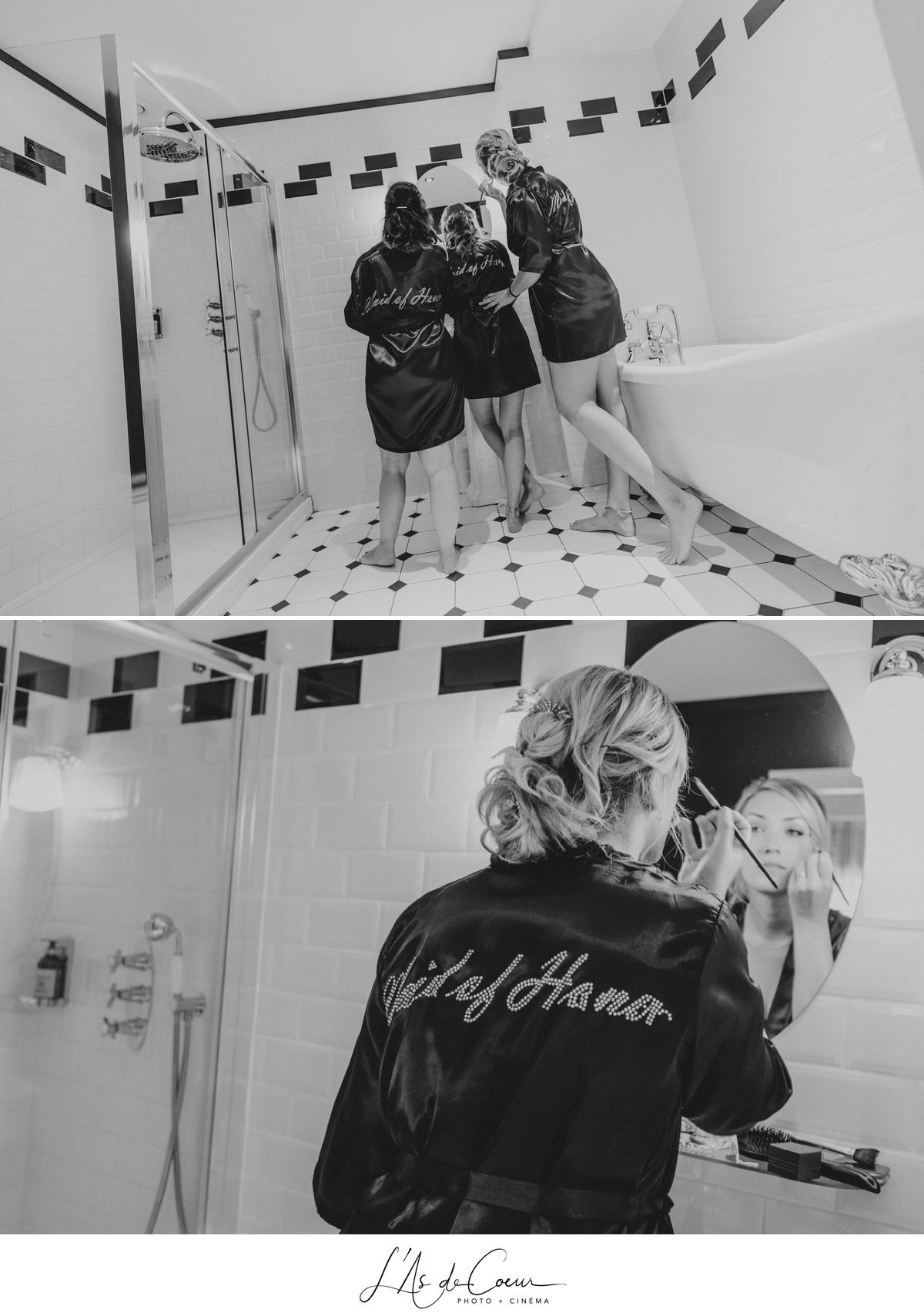 préparatifs demoiselles d'honneur noir et blanc photographe mariage Lyon ©lasdecoeur