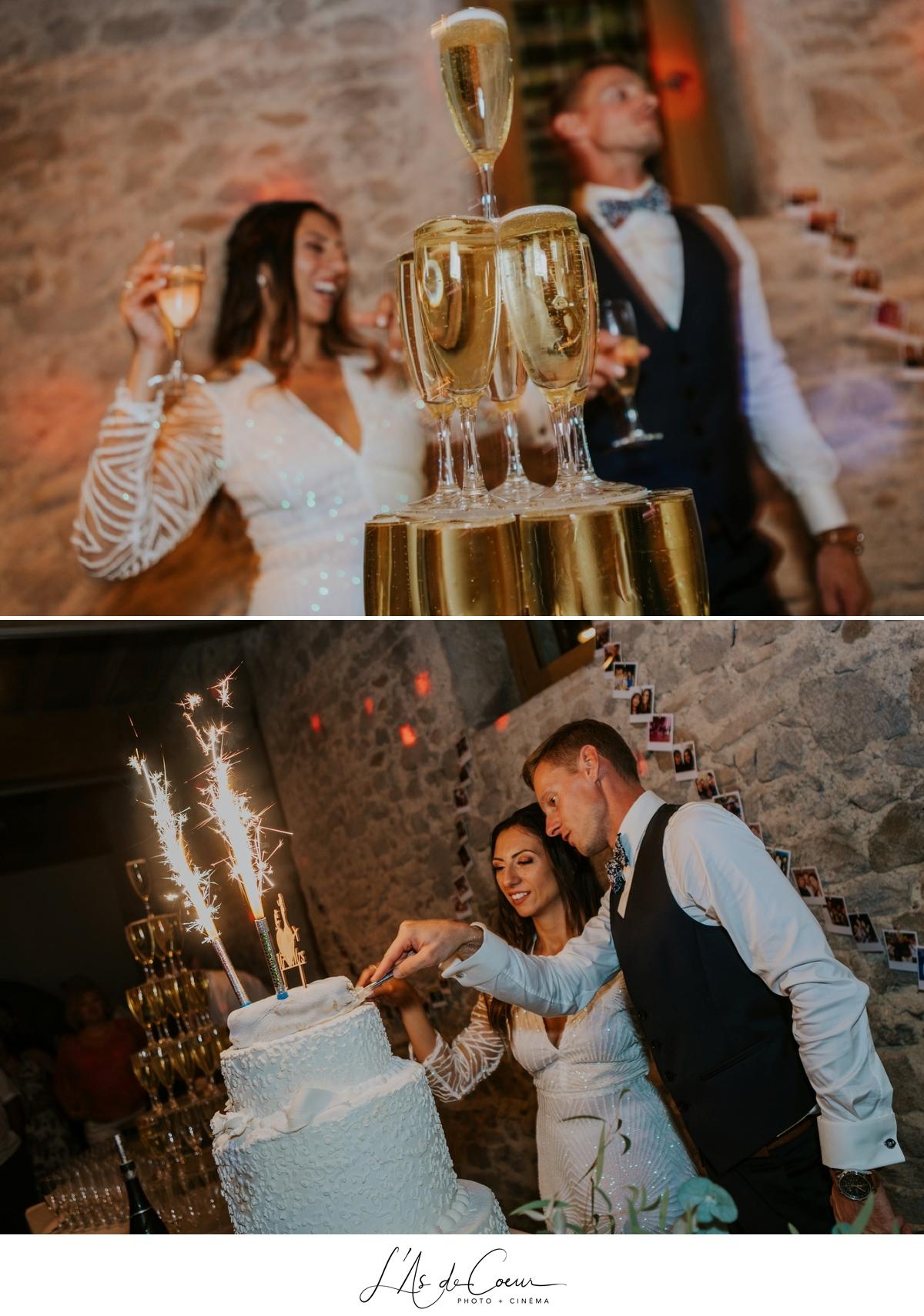 Wedding cake pièce montée champagne Mariage bohème château de la Gallée photographe Mariage Lyon ©lasdecoeur