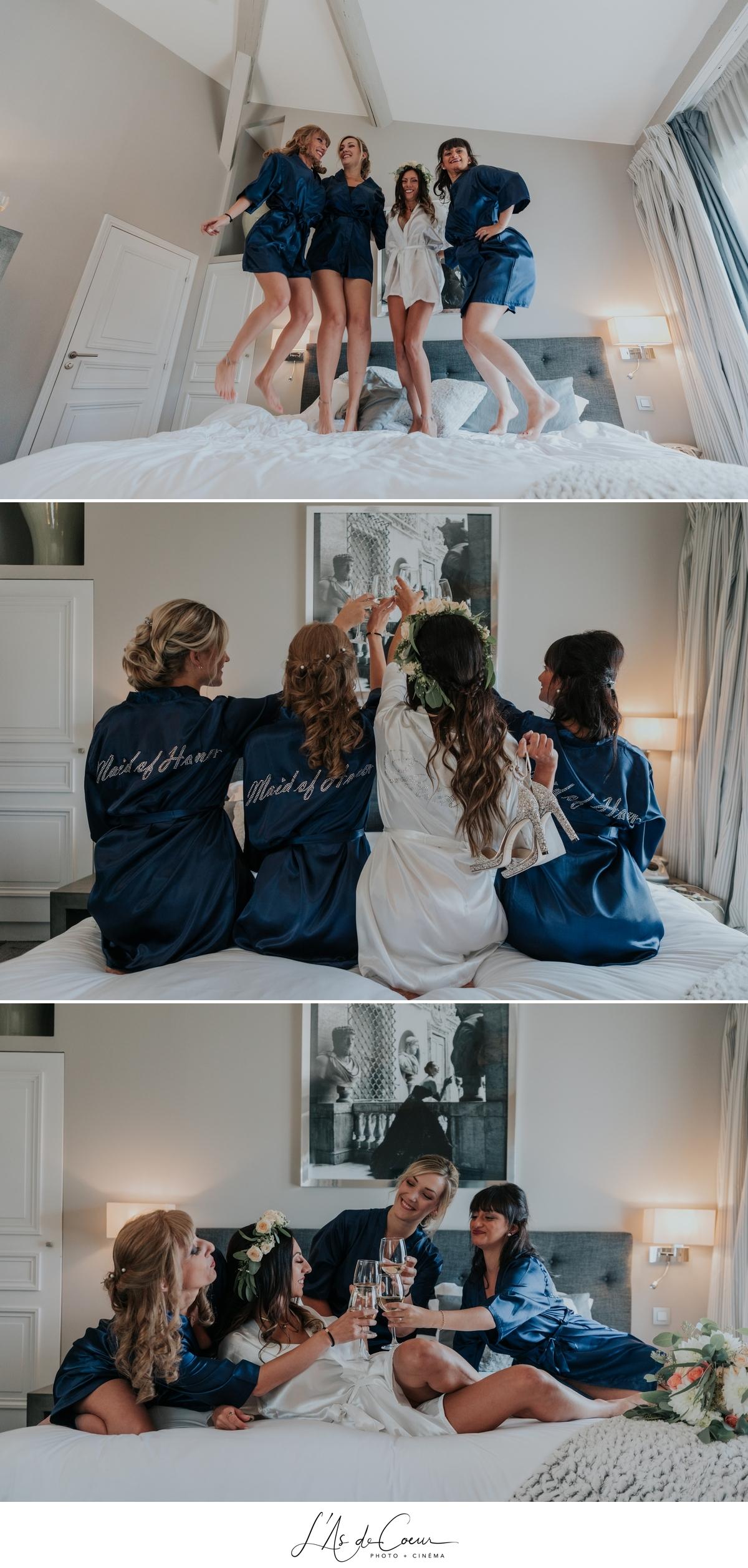 préparatifs hôtel fun demoiselles d'honneur photographe Mariage Lyon Maison d'Anthouard ©lasdecoeur