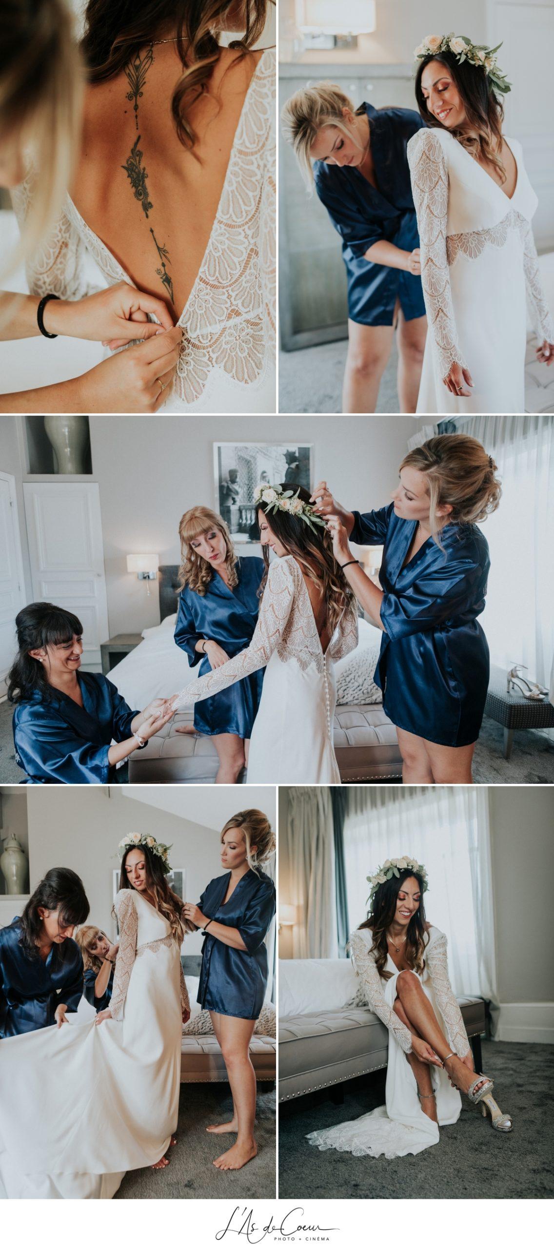 préparatifs mariée bohème photographe Mariage Lyon Maison d'Anthouard ©lasdecoeur