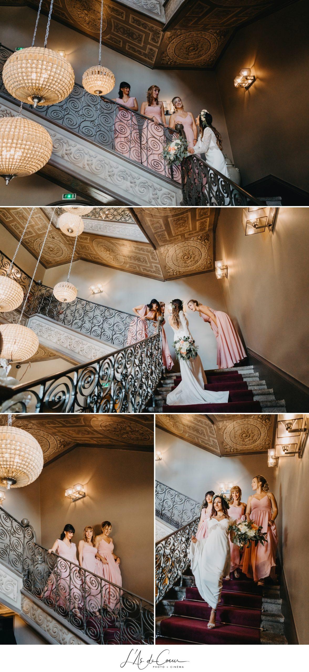 préparatifs mariée et demoiselles d'honneur bohème chic photographe Mariage Lyon Maison d'Anthouard ©lasdecoeur