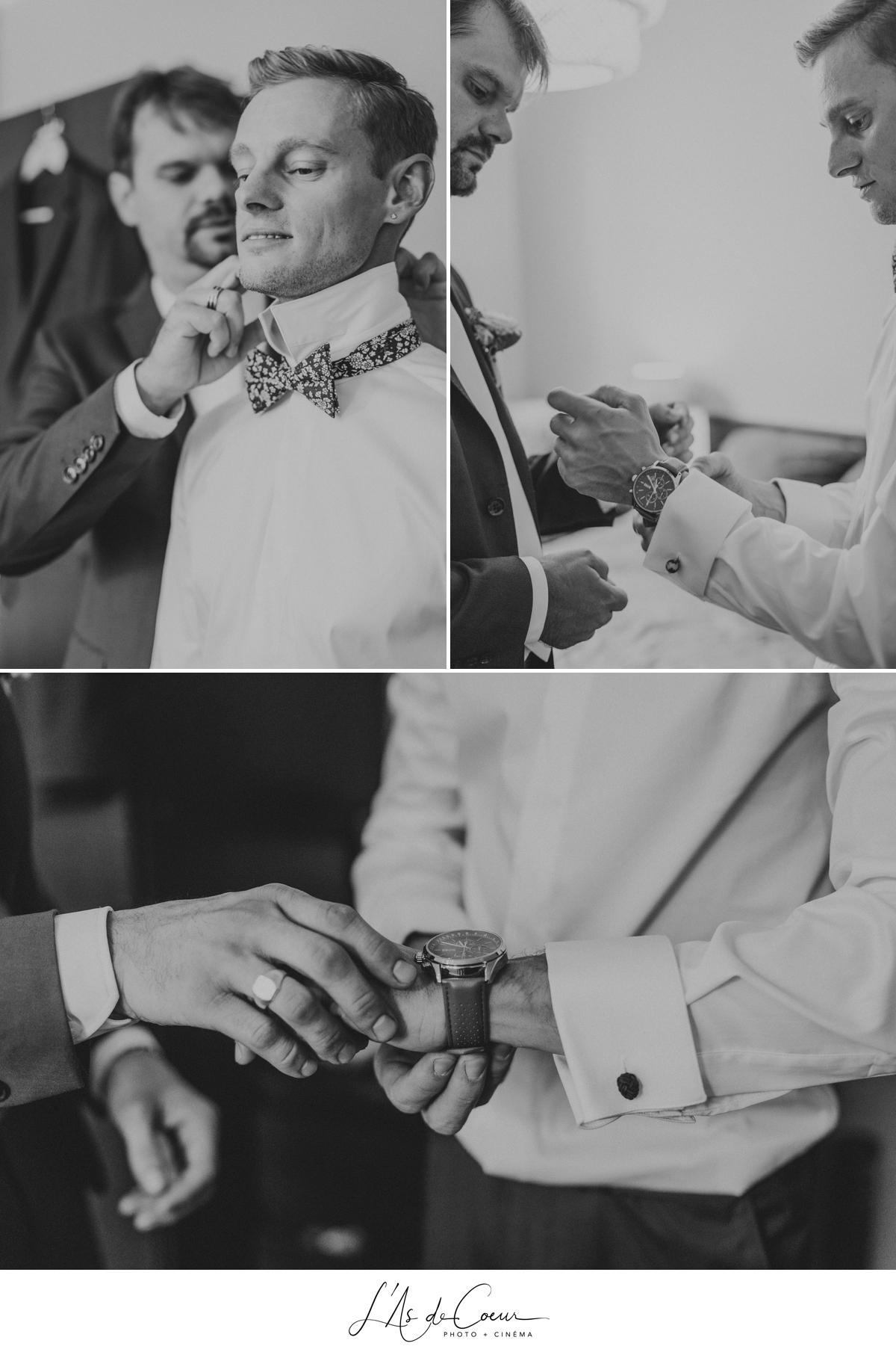 préparatifs marié noir et blanc photographe Mariage Lyon ©lasdecoeur