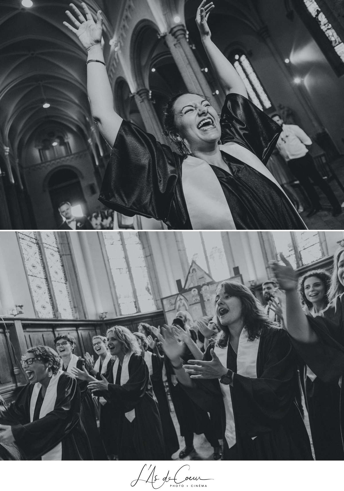 Gospel sortie mariage église noir et blanc Lyon