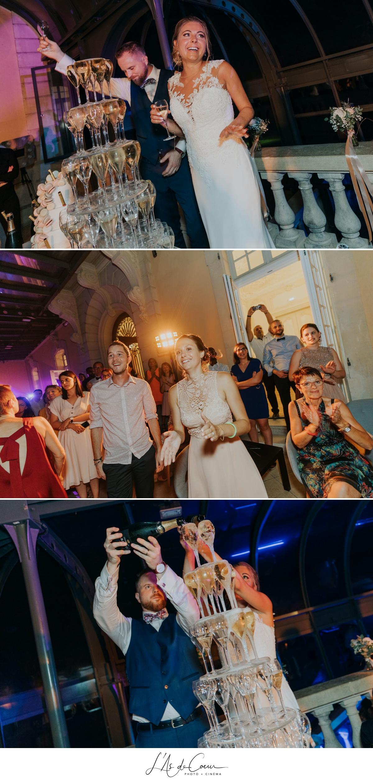Fontaine champagne soirée château de Rajat mariage Lyon