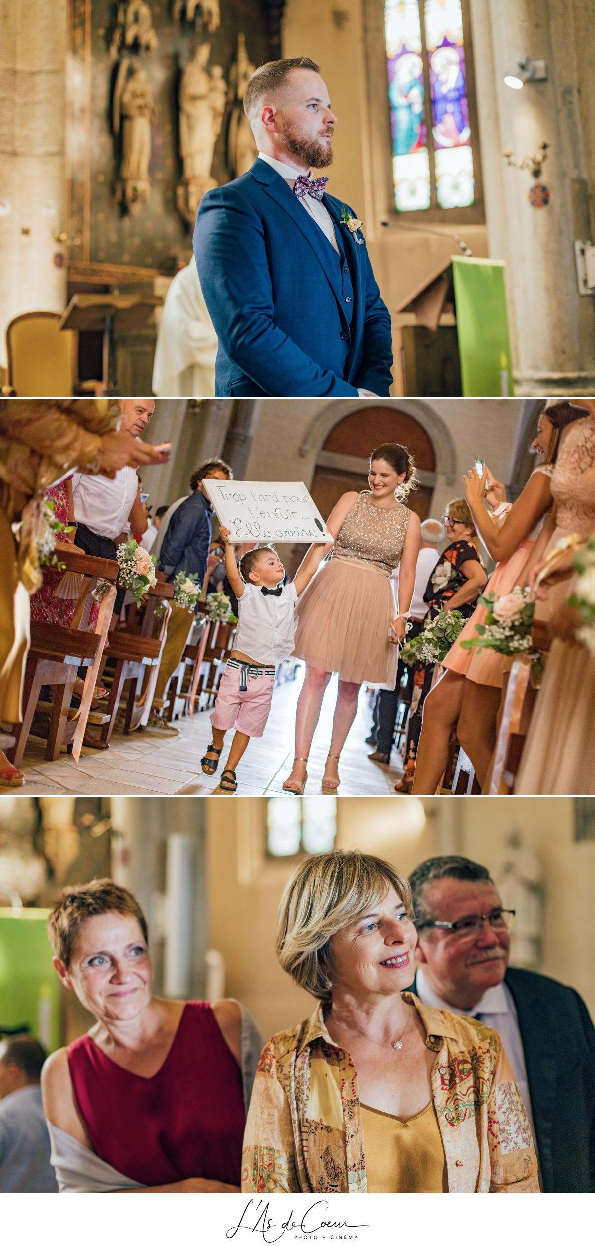 Entrée de la mariée église mariage religieux Lyon