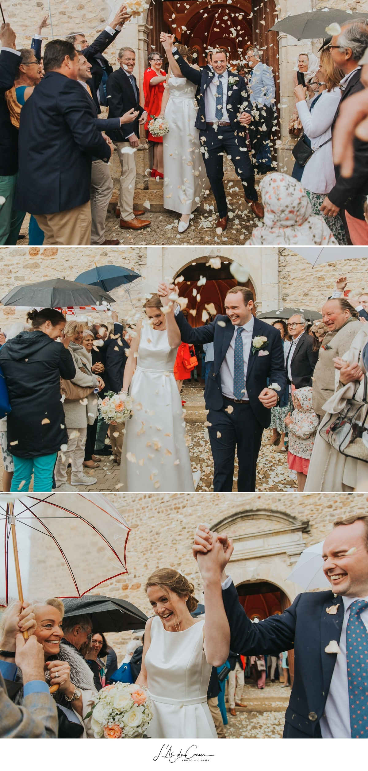 sortie église pluie Domaine de Morgon la javernière photographe mariage lyon Beaujolais L'As de Coeur