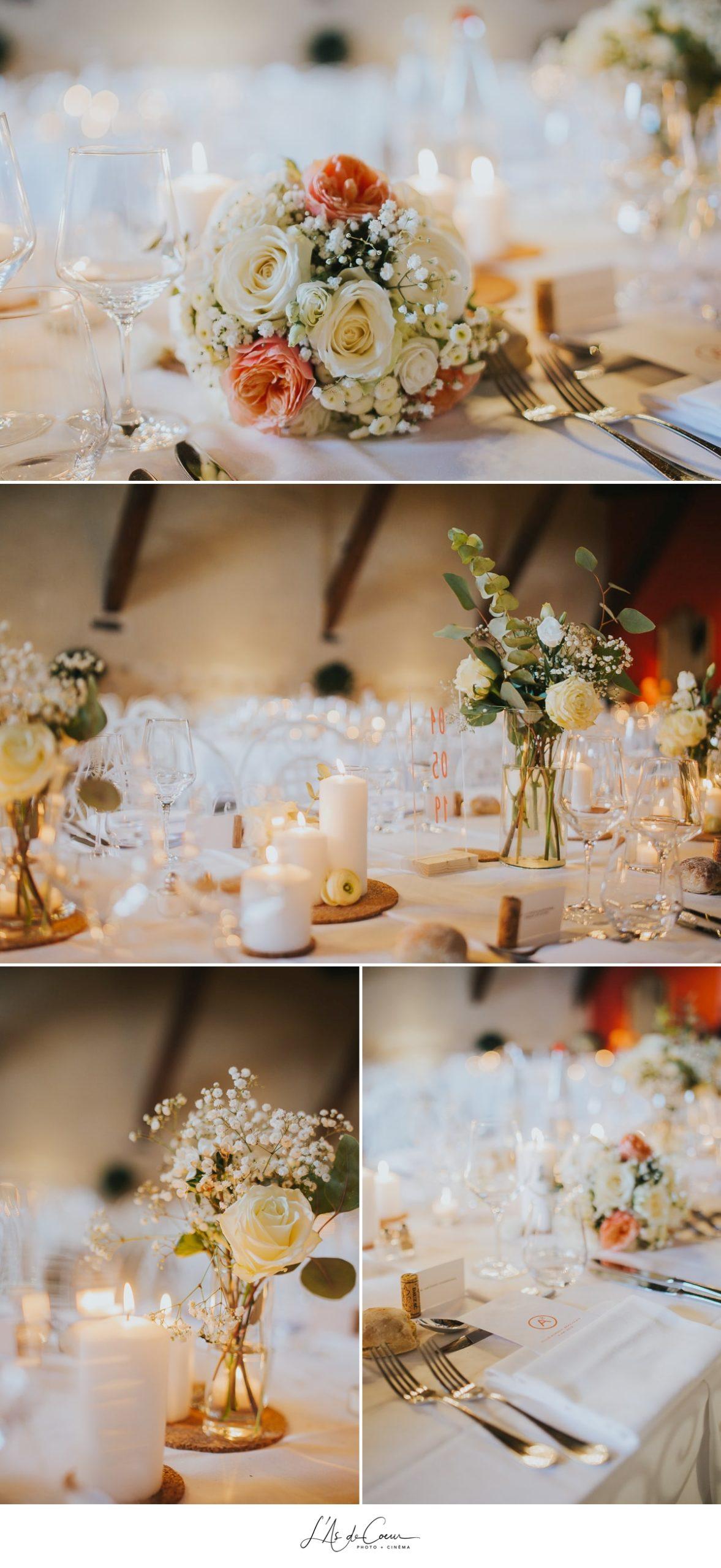 détails déco blanche chic salle Domaine de Morgon la javernière photographe mariage lyon Beaujolais L'As de Coeur